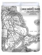 Vintage Cape Cod Old Colony Railroad Map Duvet Cover