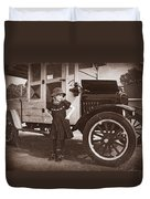 Vintage Car And Old Fashioned Girl Duvet Cover