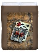 Vintage Cards Dice And Cash Duvet Cover