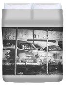 Vintage Cars At Night Bw Duvet Cover