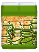 Vintage Cellar Tea Cups Painterly Duvet Cover