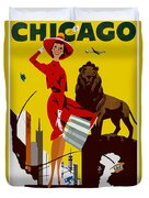 Vintage Chicago Travel Poster Duvet Cover