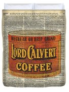 Vintage Coffee On Dictionary Page Duvet Cover