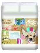 Vintage Collage Chihuahua Duvet Cover