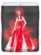 Vintage Dress Red Ball Gown - By Diana Van Duvet Cover