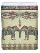 Vintage Elephants Kashmir Paisley Shawl Pattern Artwork Duvet Cover
