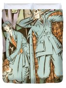 Vintage Fashion Plate Twenties Sporting Outfits Duvet Cover