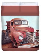 Vintage Fire Truck Watercolor Painting In A Local Scrapyard Duvet Cover