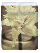 Vintage Floral Still Life Of A Pure White Bloom Duvet Cover