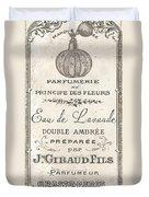 Vintage French Perfume Sign Duvet Cover