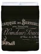 Vintage French Typography Sign Duvet Cover