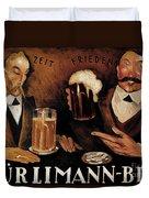 Vintage German Beer Advertisement, Friends Drinking Bier Duvet Cover