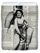 Vintage Girl In Robot Costume Duvet Cover