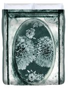 Vintage Glass Cyanoplate Dahlias Duvet Cover