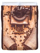 Vintage Grinder With Sacks Of Coffee Beans Duvet Cover