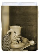 Vintage Grooming Set And Stoneware Water Pitcher In Sepia Tones Duvet Cover