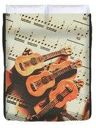 Vintage Guitars On Music Sheet Duvet Cover
