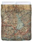 Vintage Hamburg Railway Map - 1910 Duvet Cover