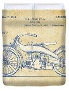 Vintage Harley-davidson Motorcycle 1924 Patent Artwork Duvet Cover