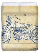 Vintage Harley-davidson Motorcycle 1928 Patent Artwork Duvet Cover by Nikki Smith