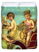 Vintage Holiday Postcard Duvet Cover