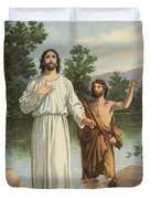 Vintage Illustration Of The Baptism Of Christ Duvet Cover