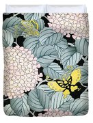 Vintage Japanese Illustration Of A Hydrangea Blossoms And Butterflies Duvet Cover