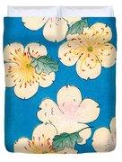 Vintage Japanese Illustration Of Dogwood Blossoms Duvet Cover