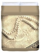Vintage Lace And Pearls Duvet Cover
