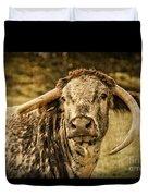 Vintage Longhorn Cattle Duvet Cover