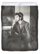 Vintage Man In Hat Smoking Cigarette In Jazz Club Duvet Cover