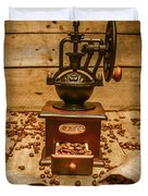 Vintage Manual Grinder And Coffee Beans Duvet Cover