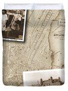 Vintage Map Ellis Island Immigrants Duvet Cover