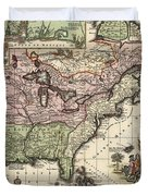 Vintage Map Of America - 1720 Duvet Cover