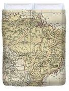 Vintage Map Of Brazil - 1889 Duvet Cover