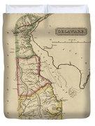 Antique Map Of Delaware Duvet Cover