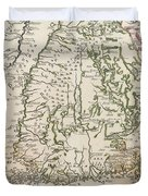 Vintage Map Of Finland - 1740s Duvet Cover