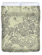 Vintage Map Of Geneva Switzerland - 1825 Duvet Cover