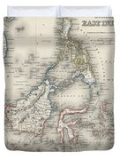 Vintage Map Of Indonesia And The Philippines Duvet Cover
