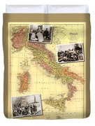 Vintage Map Of Italy Genealogy Map Duvet Cover
