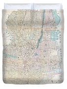Vintage Map Of Jersey City And Hoboken  Duvet Cover