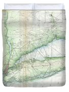 Vintage Map Of Long Island Ny Duvet Cover