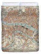 Vintage Map Of Lyon France - 1888 Duvet Cover