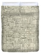 Vintage Map Of Memphis Tennessee - 1911 Duvet Cover