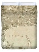 Vintage Map Of Messina Italy - 1900 Duvet Cover