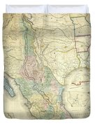 Vintage Map Of Mexico - 1847 Duvet Cover