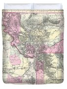 Vintage Map Of Montana, Wyoming And Idaho  Duvet Cover