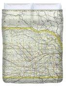 Vintage Map Of Nebraska - 1889 Duvet Cover