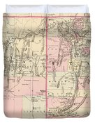 Vintage Map Of Nevada And Utah - 1880 Duvet Cover