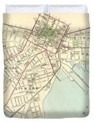 Vintage Map Of New Haven Connecticut - 1893 Duvet Cover